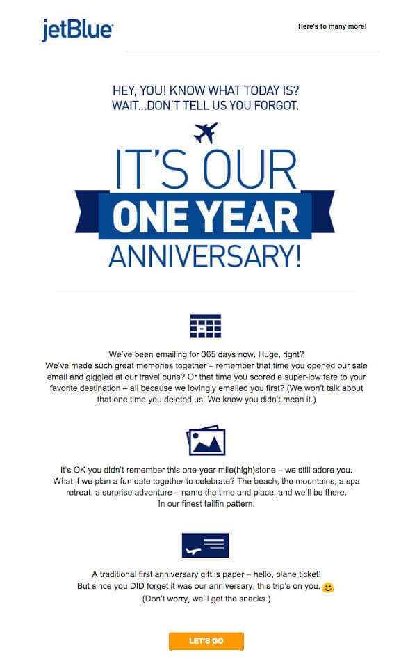 "JetBlue email that reads ""it's our one year anniversary. we've been emailing for 365 days now"" below, it reads ""it's OK you didn't remember this one-year mile(high)stone"" and ""a traditional first anniversary gift is paper - hello plane ticket! but since you did forget it was our anniversary, this trip's on you"""