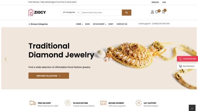 Jewlery demo of free WordPress ecommerce theme Zigcy Lite