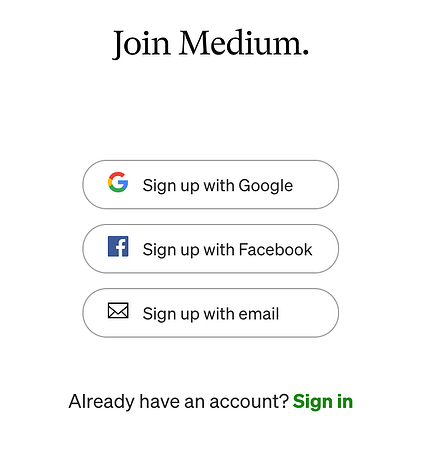 Join Medium sign-up page