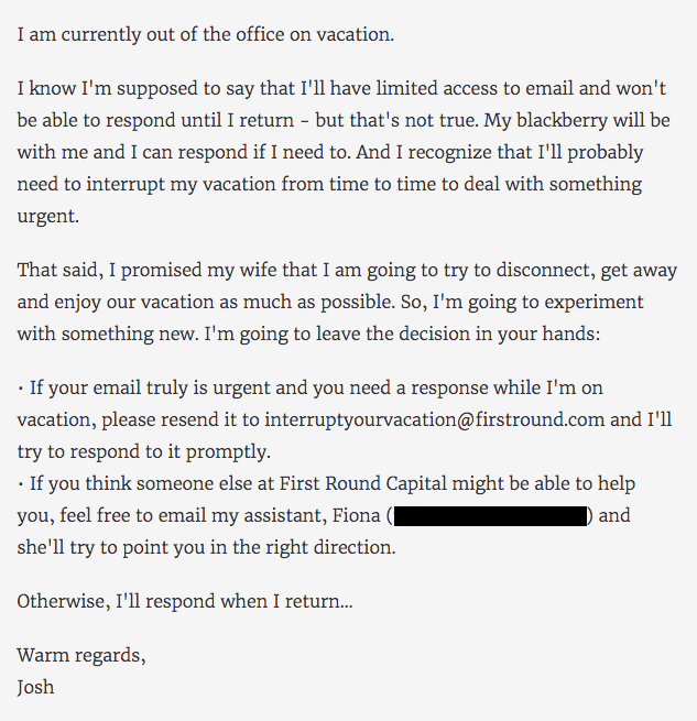 The Blunt Approach to an out of office email