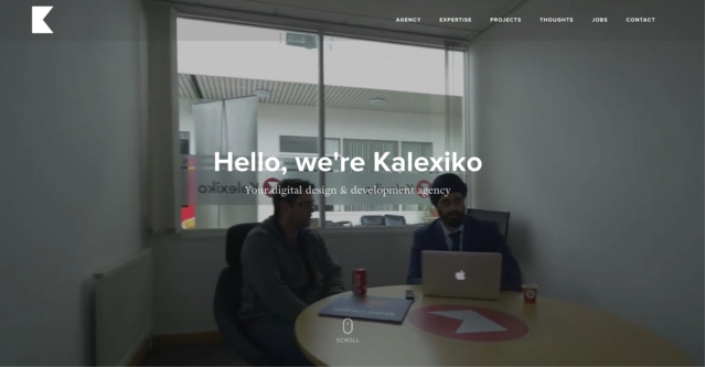 Kalexiko uses subheading to note that they are a digital design and development agency