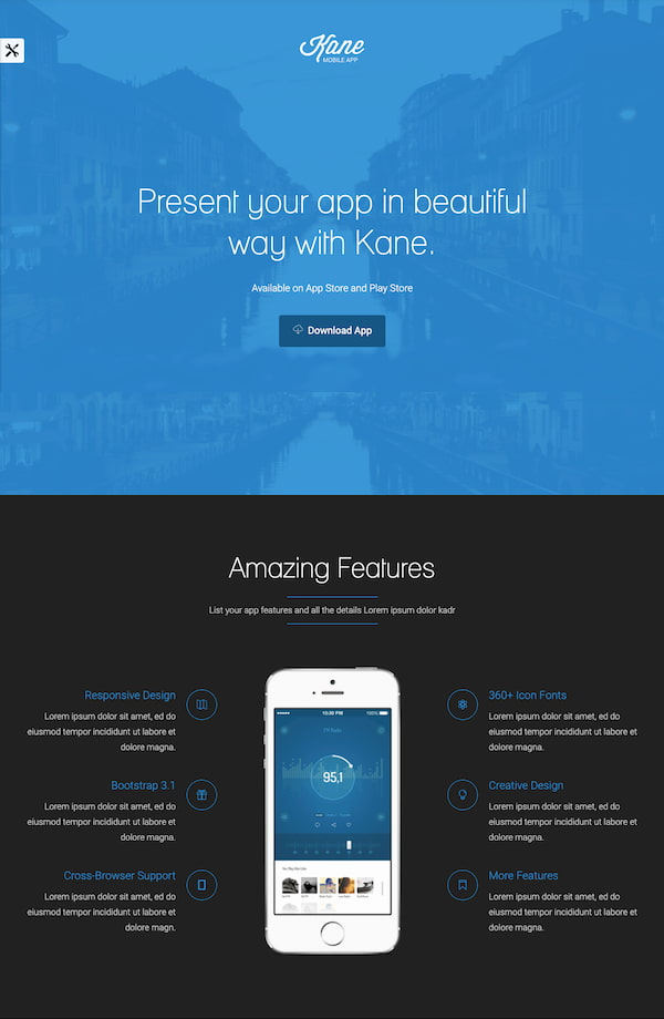 Kane Themes transparent color background demo built with HTML5