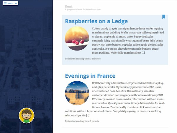 Kent minimalist blogging WordPress theme