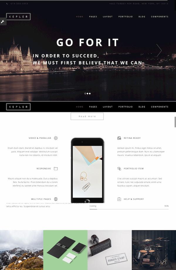 Kepler theme demo built with HTML5