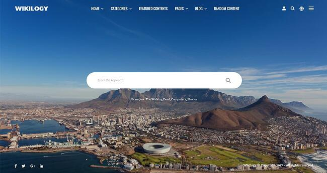 Knowledge Base website with full image background created with Wikilogy theme for WordPress