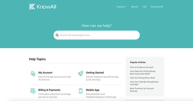 Knowledge base homepage created with the KnowAll Theme for WordPress