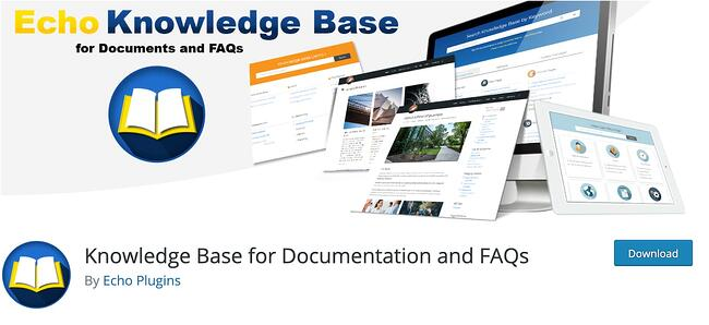 Yellow and white book logo on blue gradient background with various web screens for Knowledge base FAQ plugin by Echo Plugins