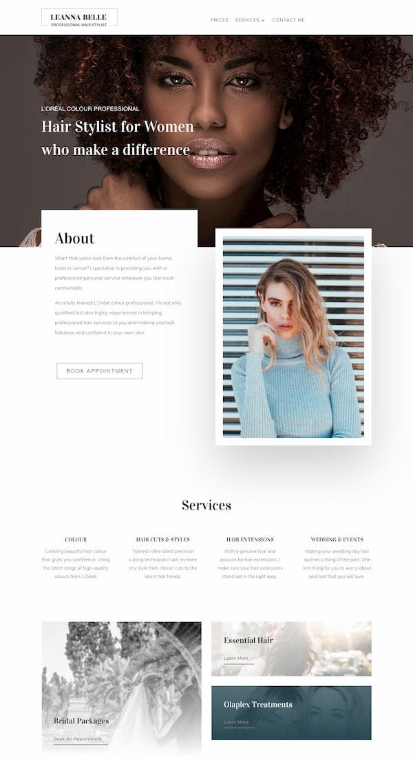 Leanna Belle website built with Divi