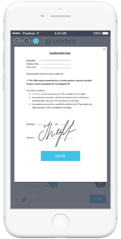 Lightico eSignature Platform on mobile