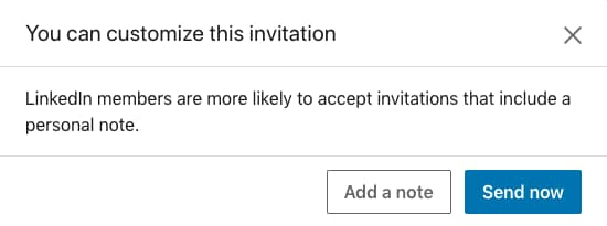 Adding a personalized note to your LinkedIn request