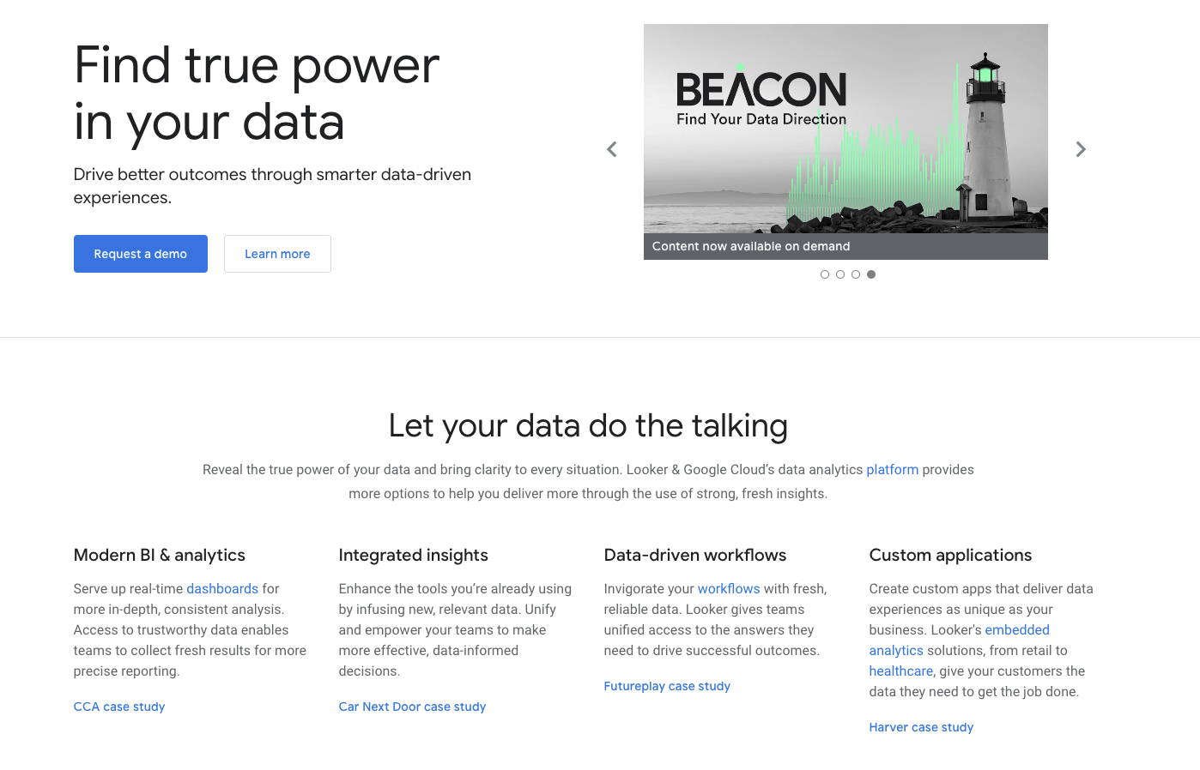 Lookers homepage showing BI features