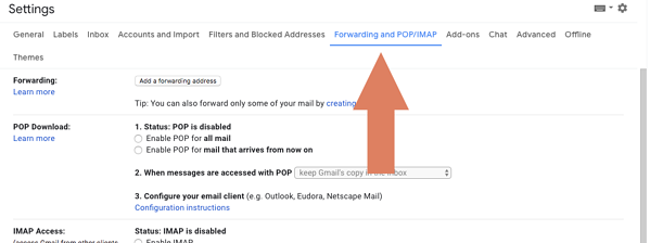 forwarding and pop/imap settings in Gmail