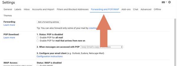 forwarding and pop/imap settings in Gmail