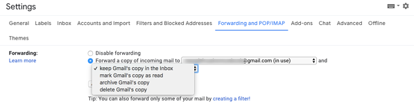 forwarding options in Gmail