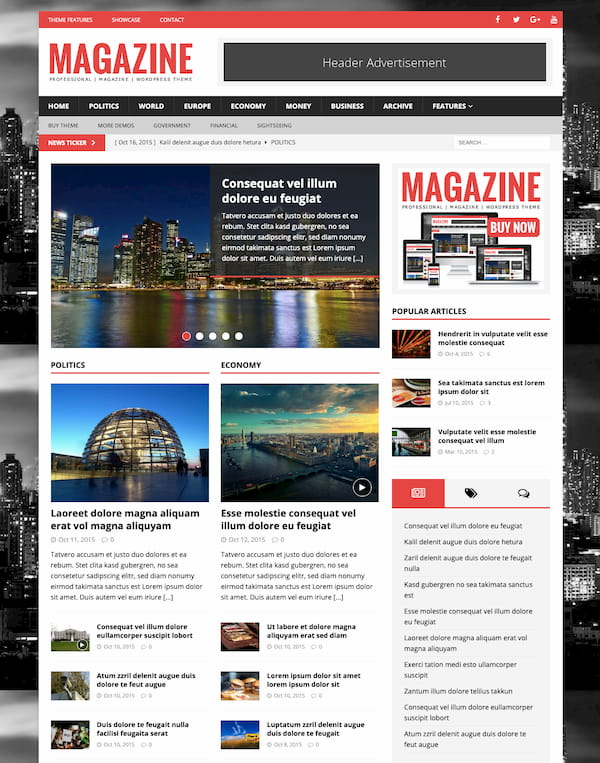 MH Magazine theme demo with banner ad and ad space