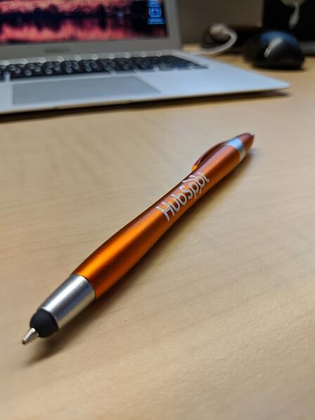 HubSpot pen product shot in portrait mode with Google Pixel 2
