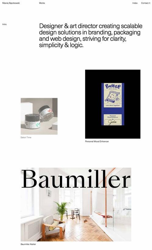 Maciej Bączkowski's minimalist portfolio  website uses lots of whitespace and a black and white color scheme