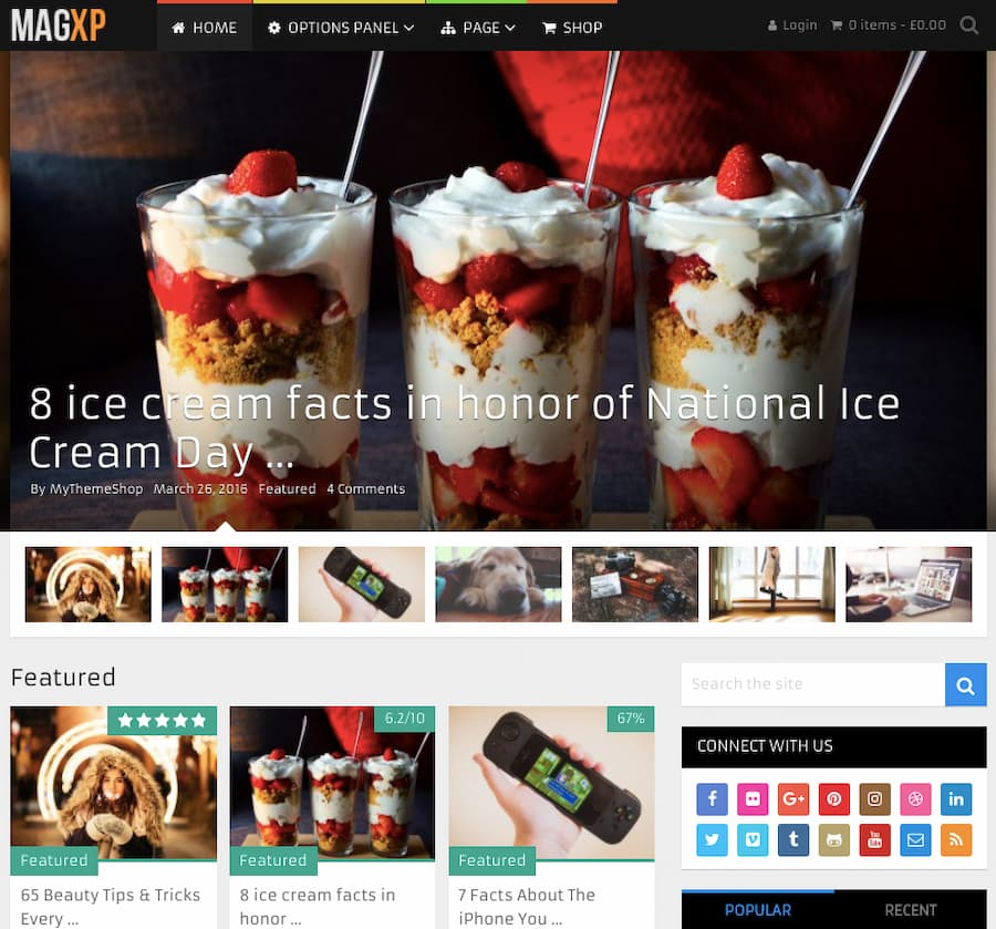 MagXP theme demo shows blog homepage with product reviews