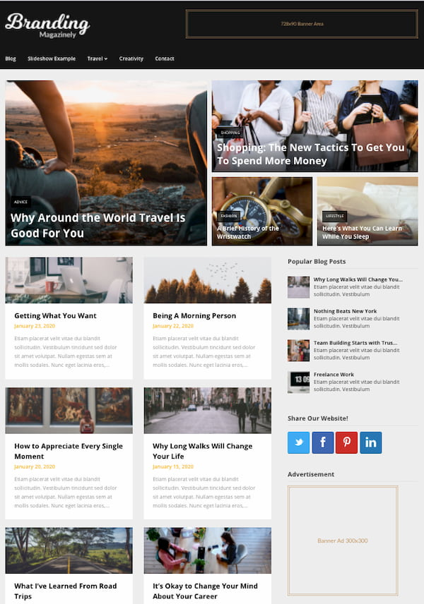 Magazinely WordPress theme demo with advertising space