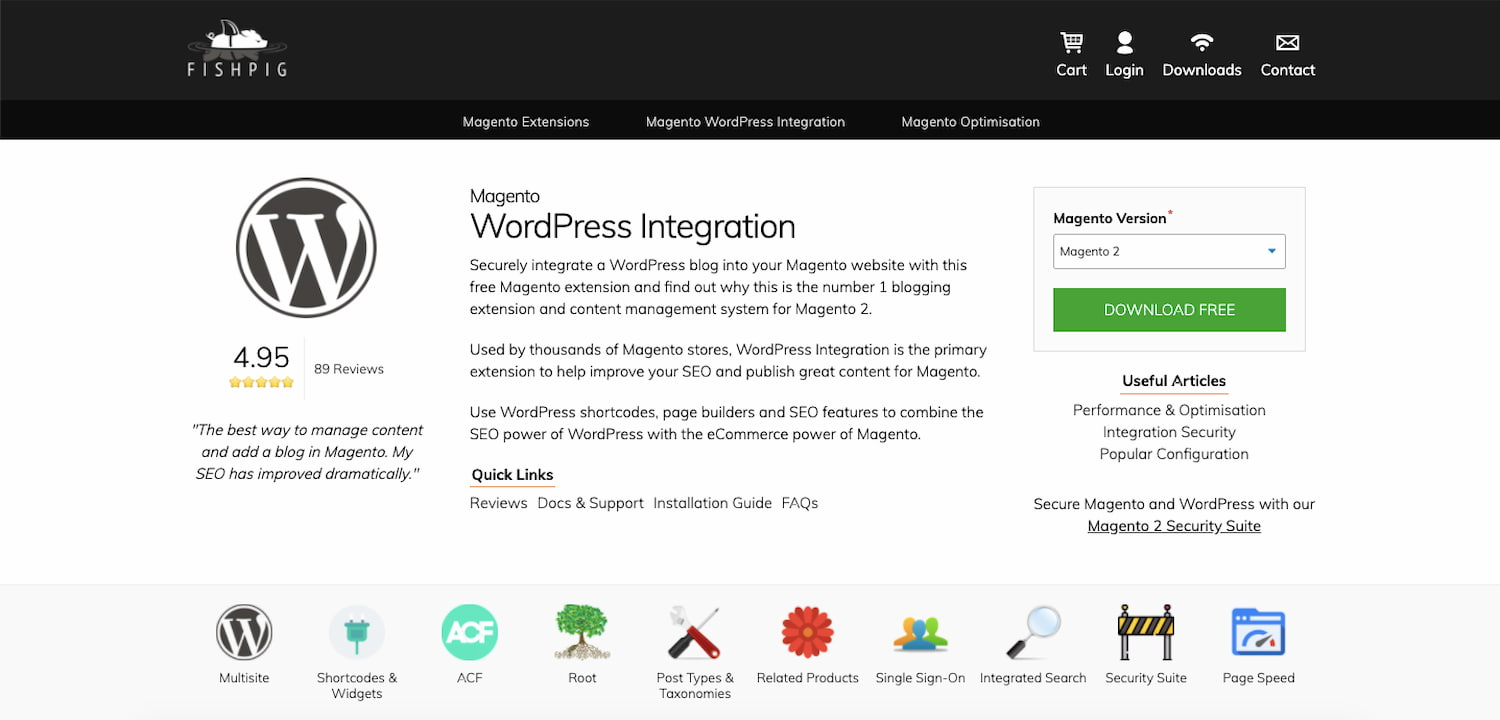 Magento WordPress Integration by Fishpig product page