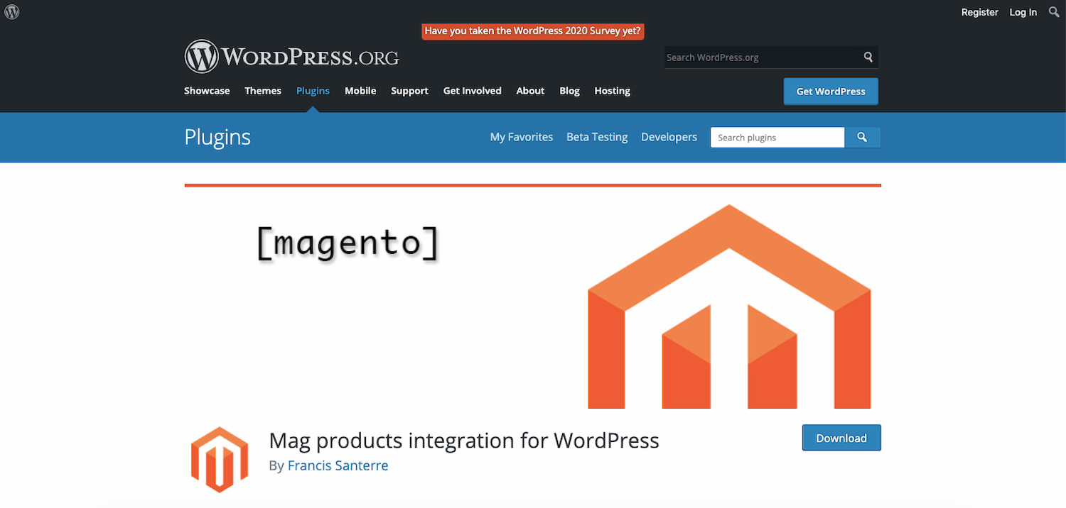 Magento WordPress plugin by Francis Santerre
