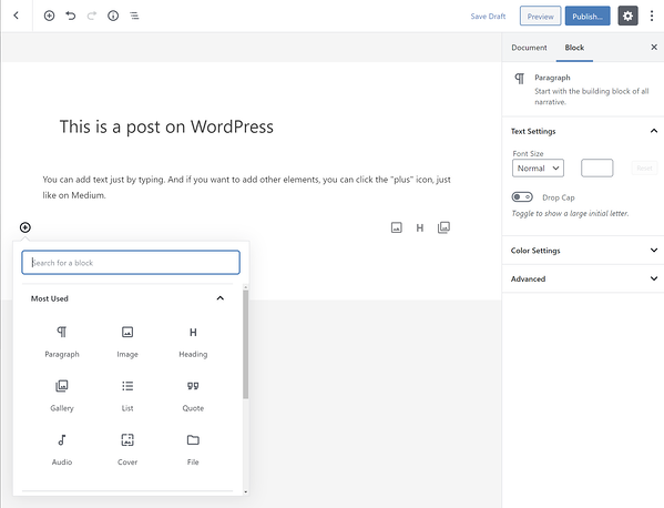 WordPress Gutenberg editor has multiple blocks for creating blog posts and pages quickly