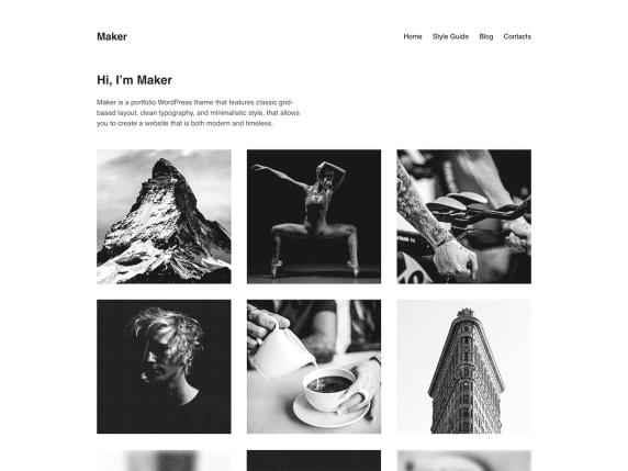 Maker WordPress theme shows minimalist black and white portfolio