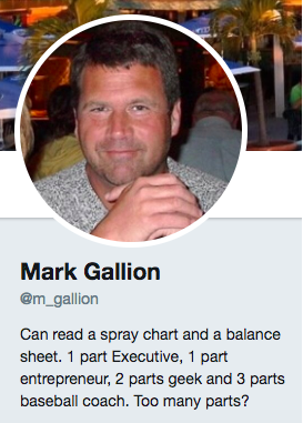 Mark Gallion's professional bio on Twitter