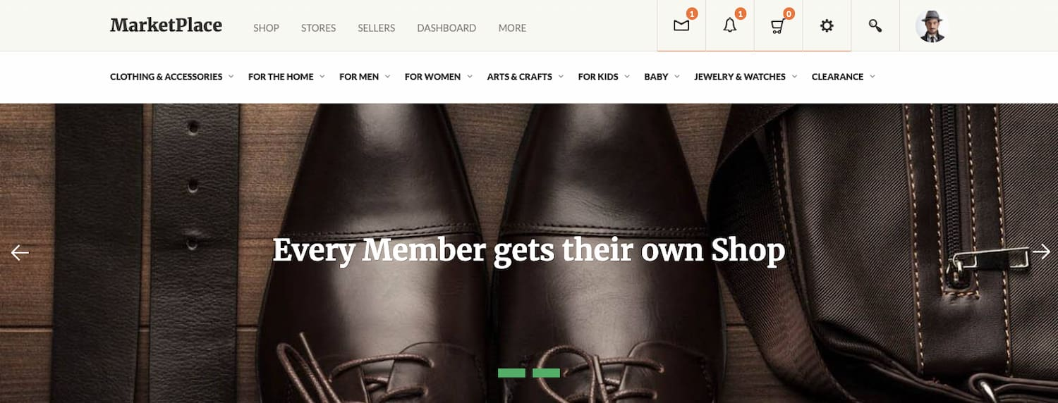 Marketplace theme can create a marketplace site for a community of sellers and buyers