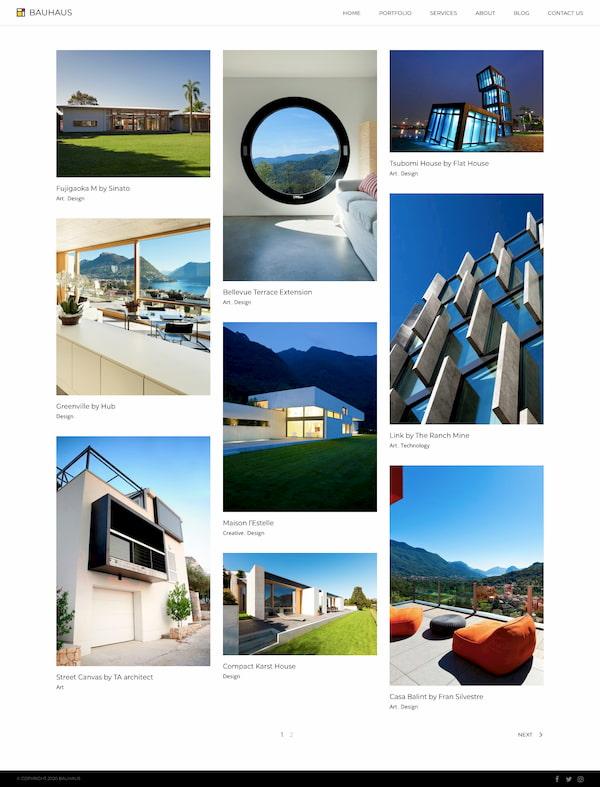 Masonry blog page from Bauhauss demo site
