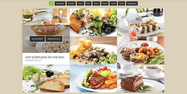 Masonry grid demo for restaurant website created with the WordPress portfolio plugin Go Portfolio