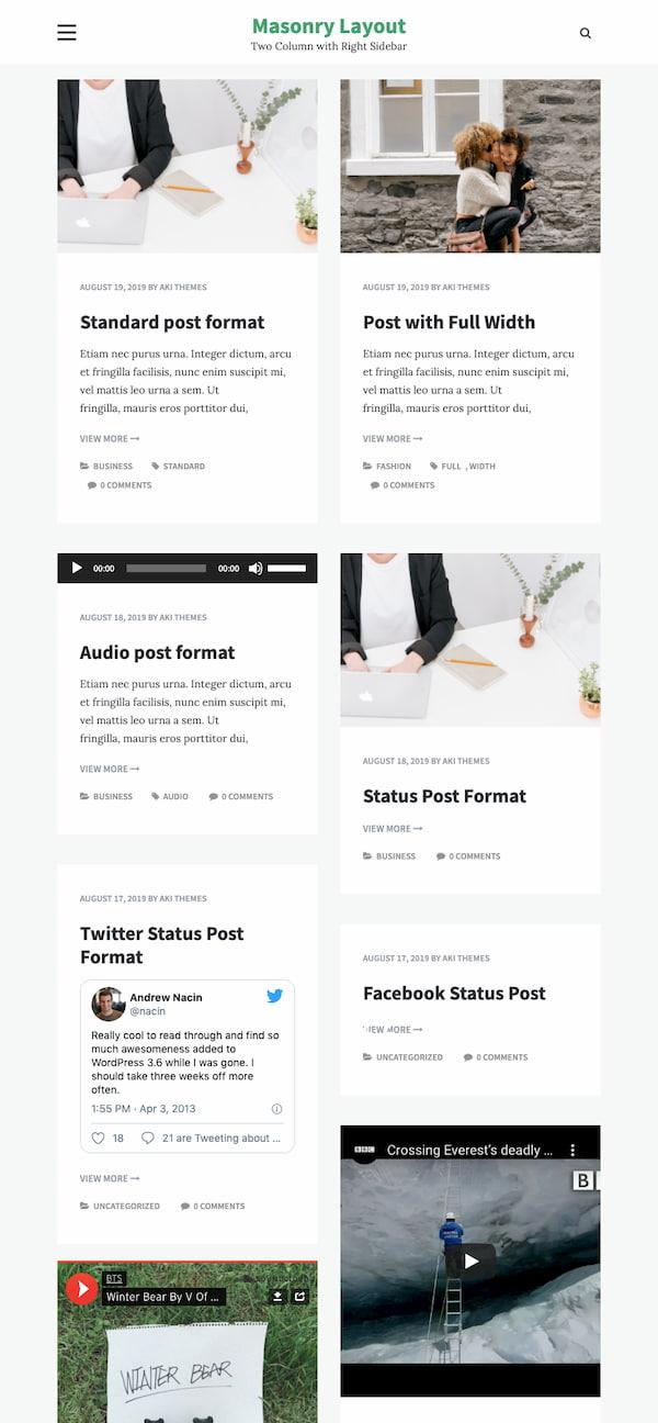 Masonry layout of Opus Masonry WordPress theme
