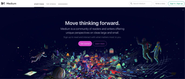 "Medium's headlines and subheadings encourage users to ""Move Thinking Forward"""