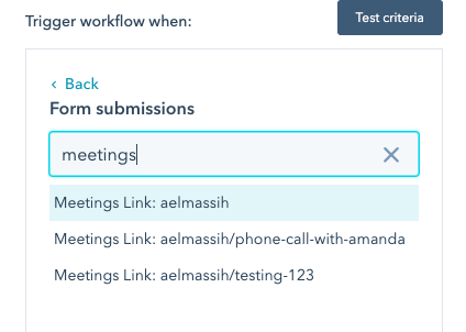Meetings Link Criteria