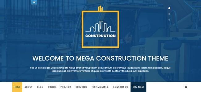 Mega Construction theme for WordPress shows custom logo and navigation menu for a construction company