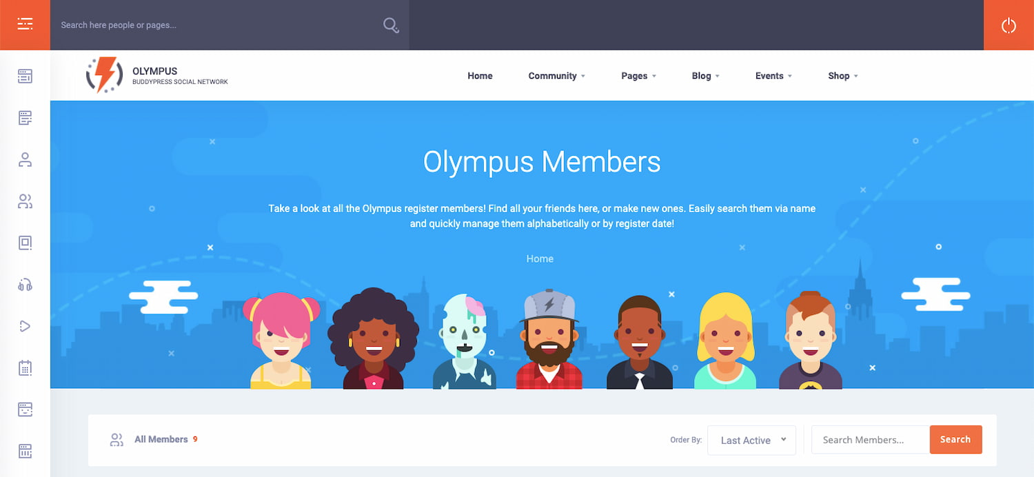 Members page demo of Olympus theme for WordPress