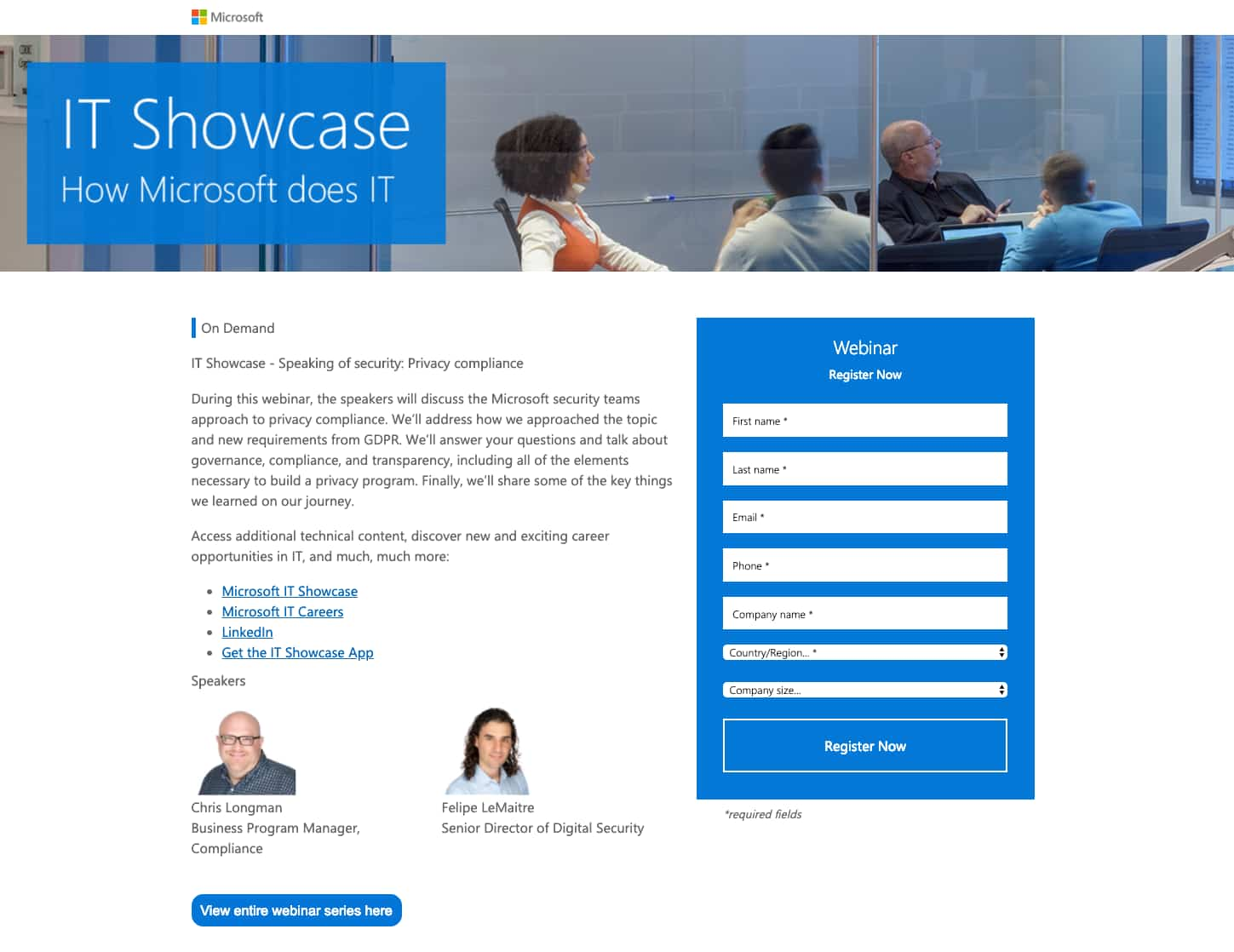 Microsoft IT Showcase Webinar Landing page