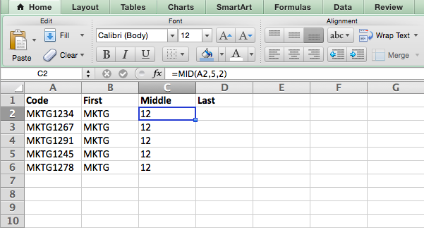 MID formula in Excel