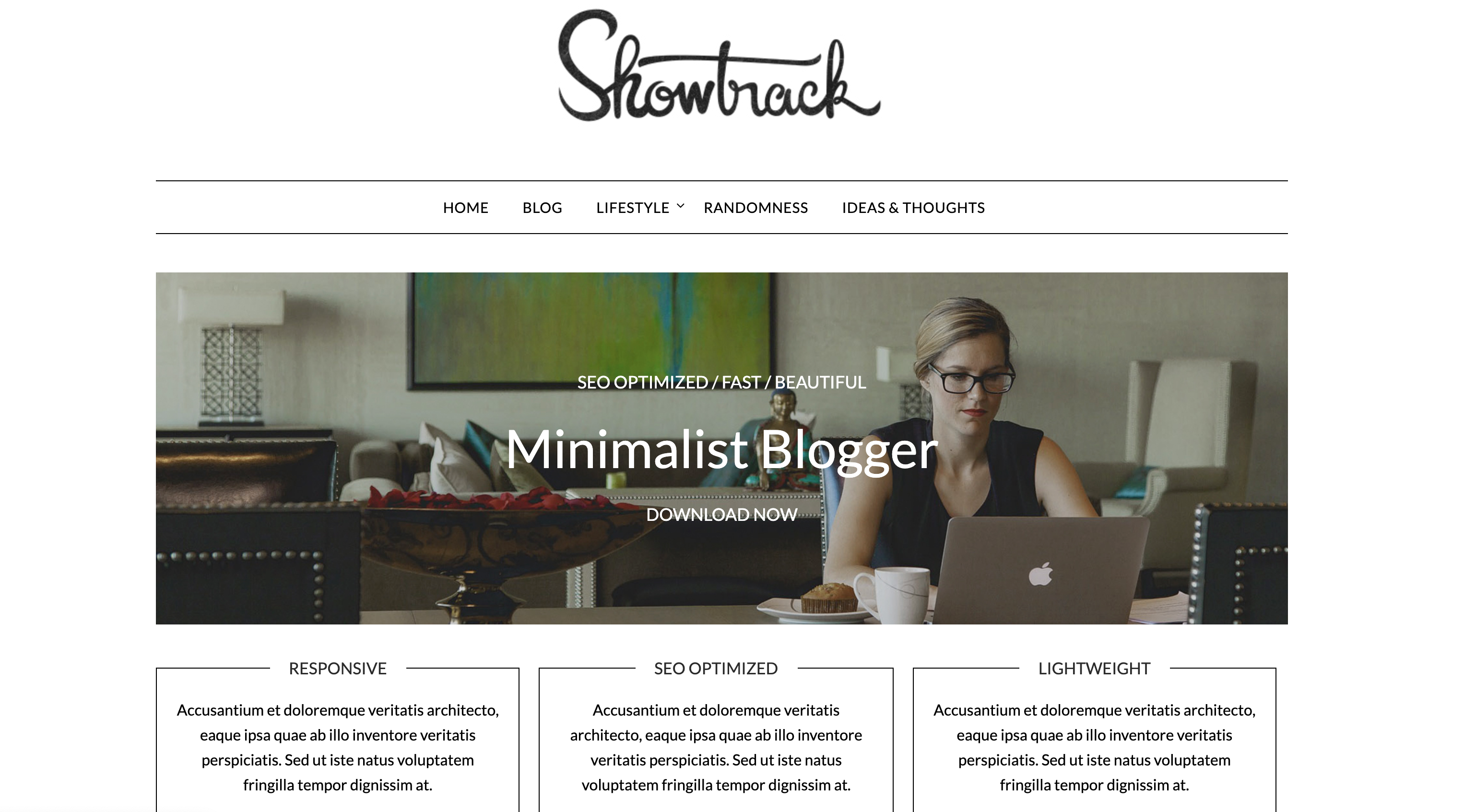 This is a screenshot of the demo of Minimalist Blogger.