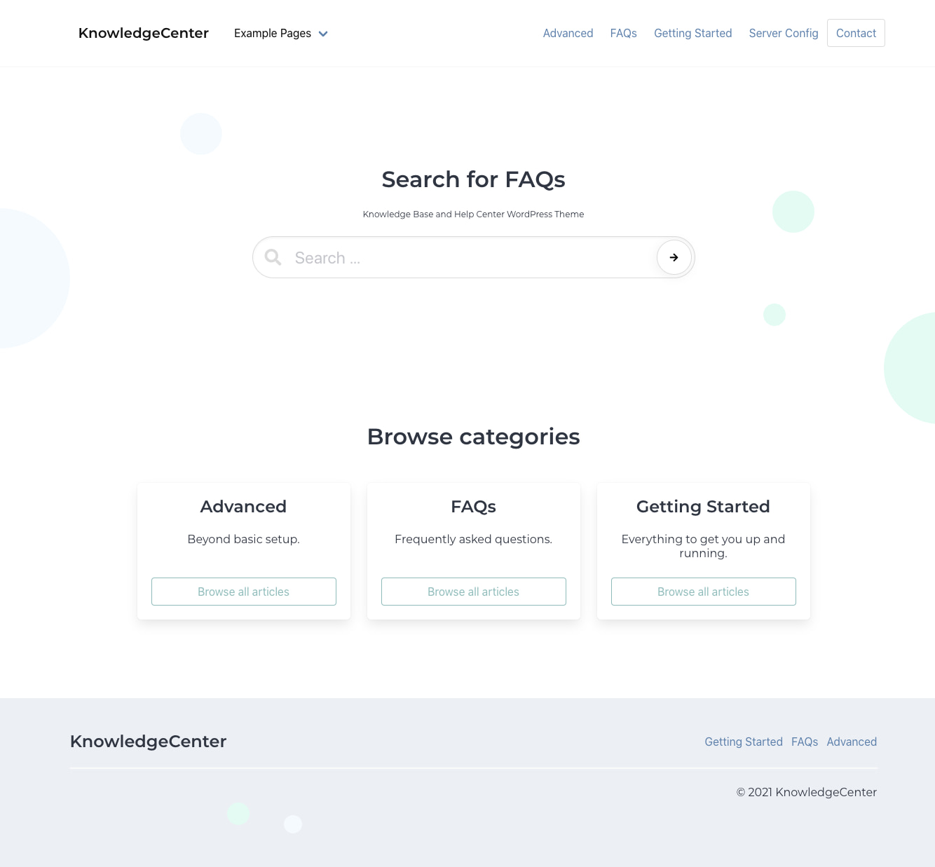 Minimalist Knowledge Base website created with the free KnowledgeCenter theme for WordPress