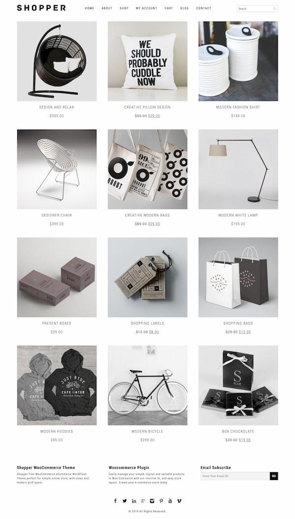 Minimalist ecommerce site created via Shopper WordPress theme
