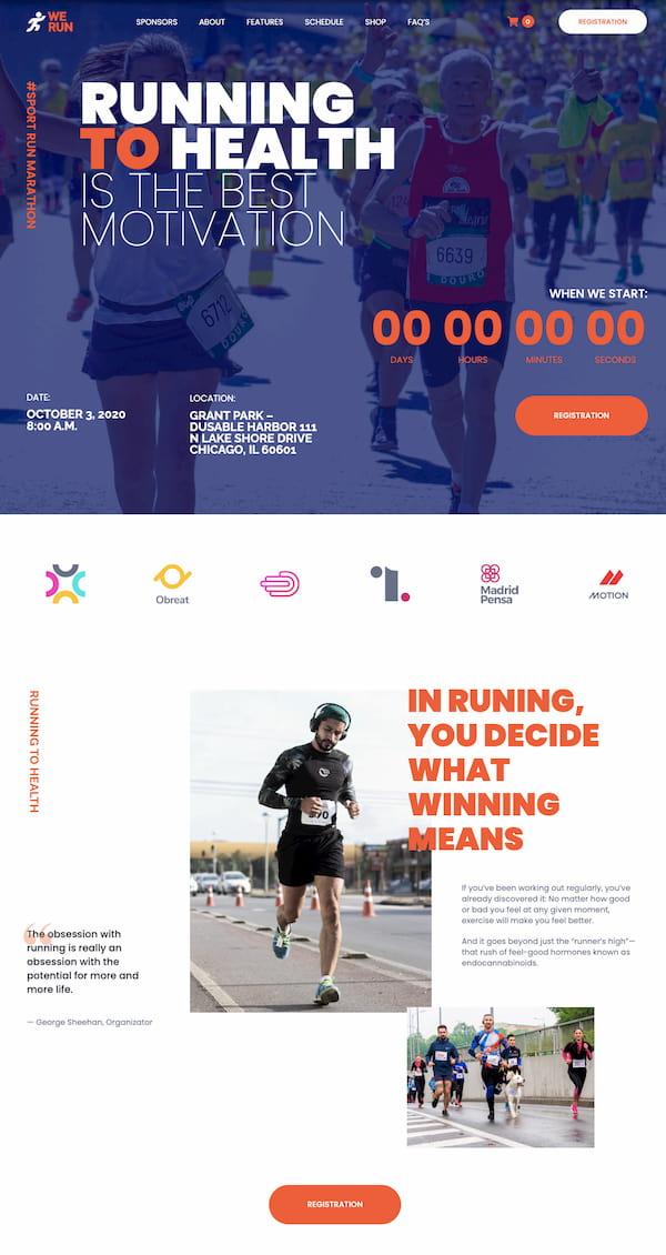 Monstroid2 Themes Marathon website demo built with HTML5