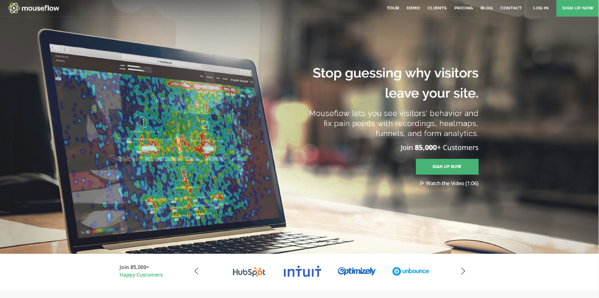 Homepage of Mouseflow