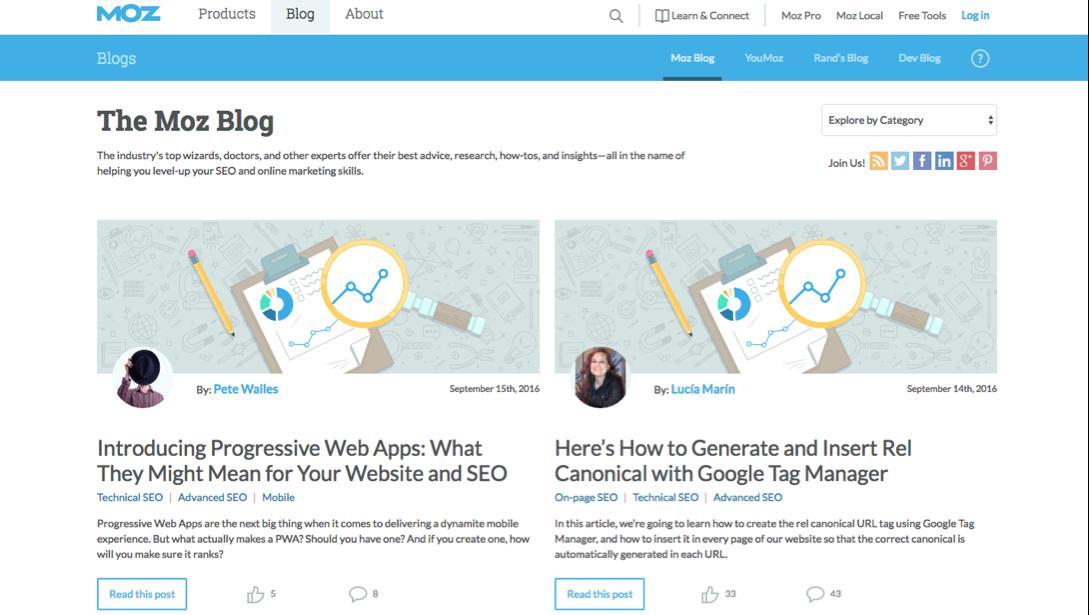 Moz Blog on search engine optimization strategies