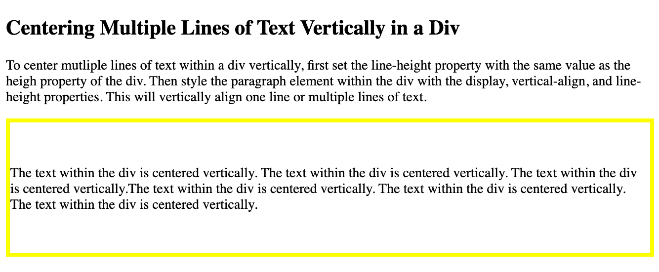 Multiple lines of text in a div is centered vertically using the line-height property in CSS