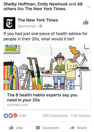NYT ad for Mobile Facebook Ad Placement