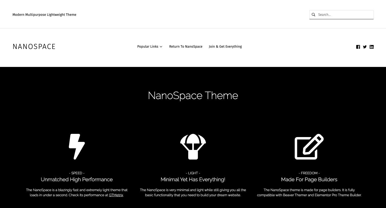 NanoSpace demo shows a lightweight BuddyPress theme for WordPress