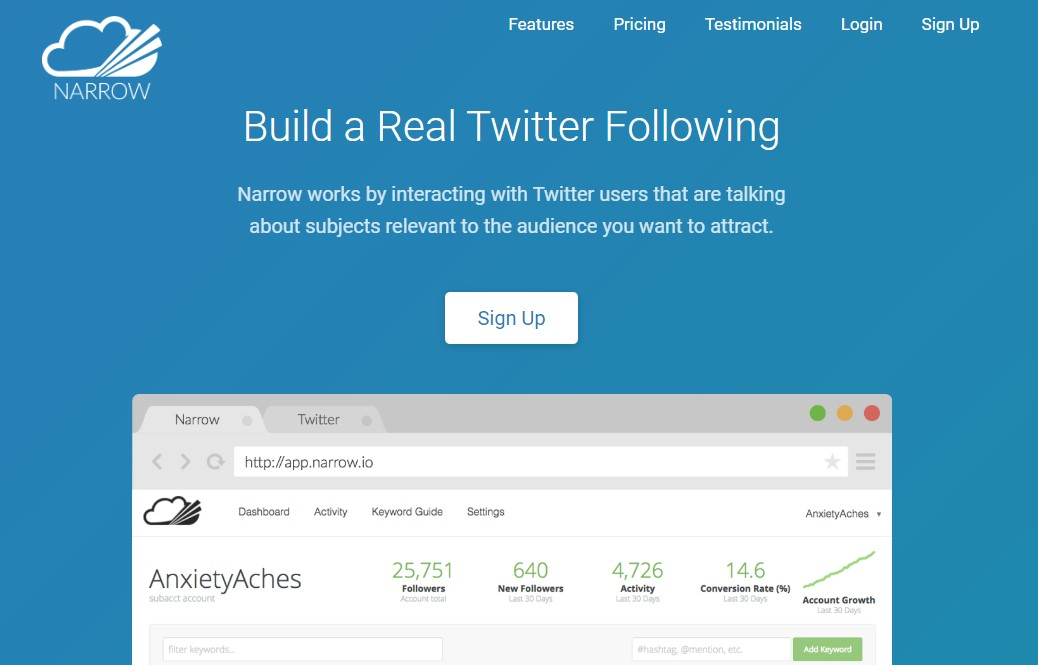 Narrow.io for filtering Twitter audiences