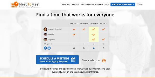 NeedToMeet Best Scheduling Polls and Surveys - Home page