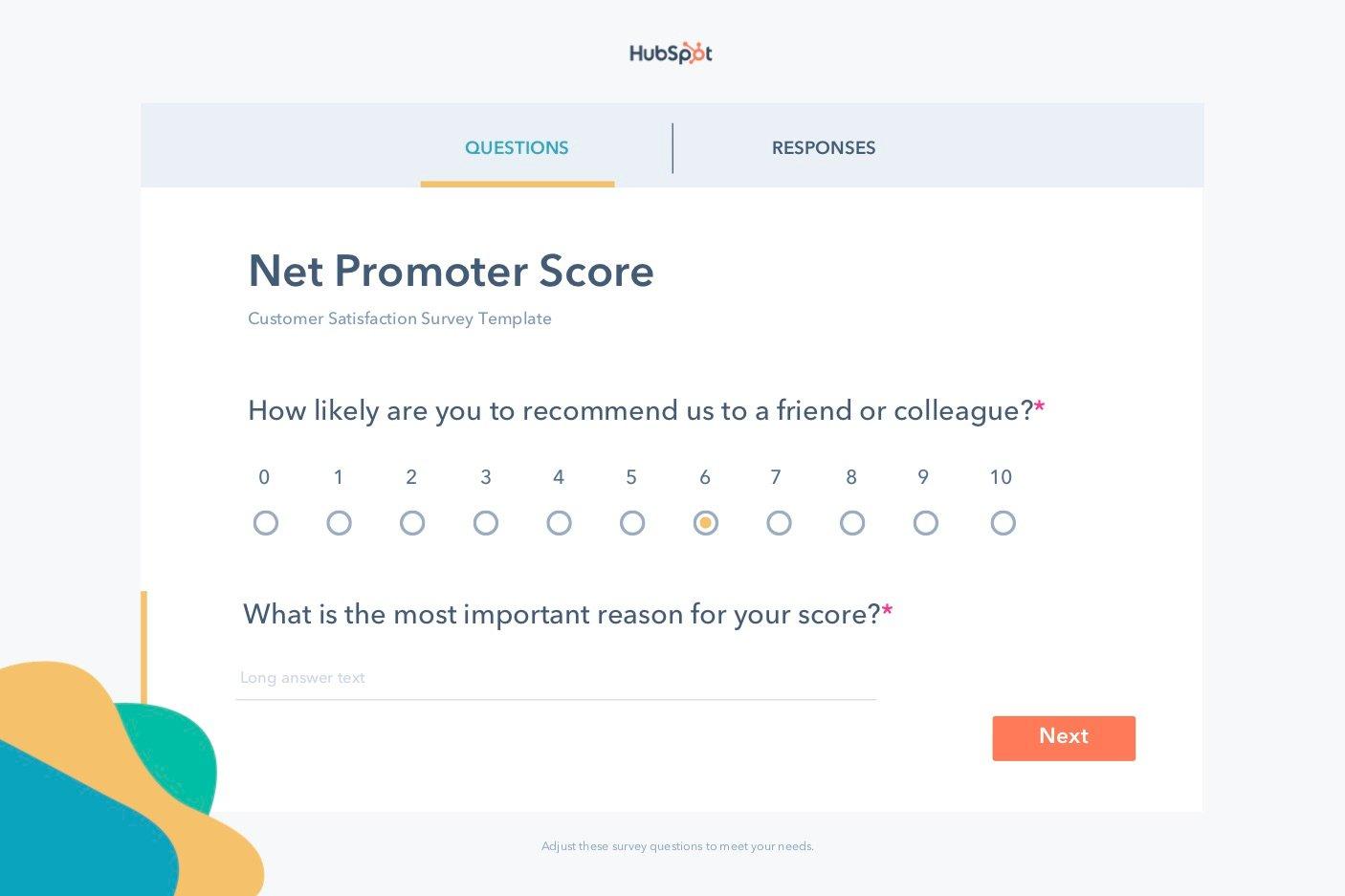 free editable Net Promoter Score survey template